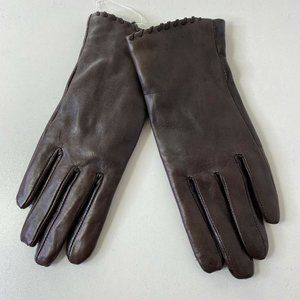 Fownes Tech Whip Stitch Leather Faux Fur Gloves